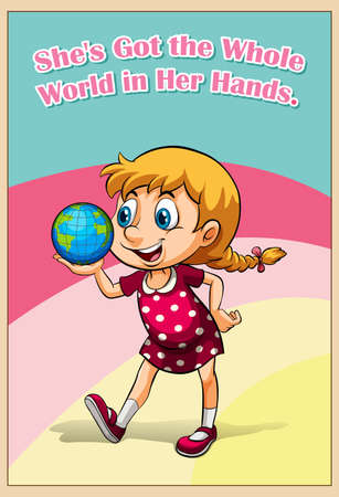 figurative: Idiom got the whole world in her hands illustration
