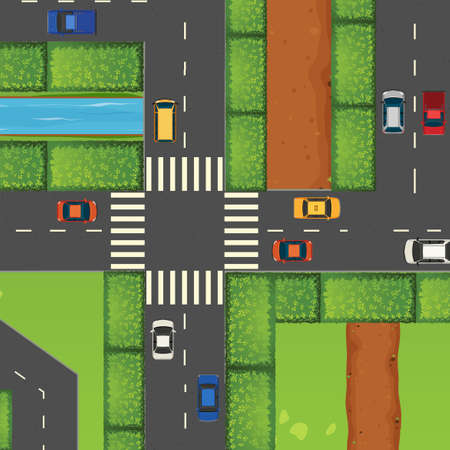 cars on road: Cars on the road illustration Illustration