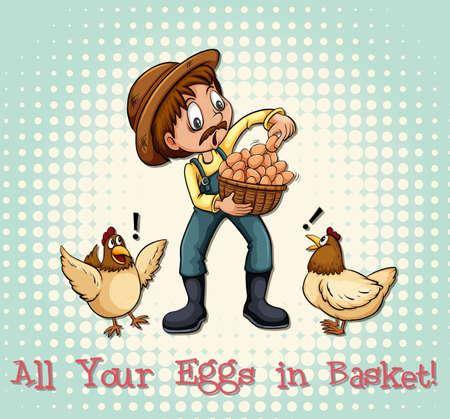figurative art: All eggs in basket illustration
