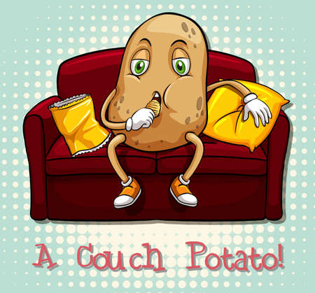 idiom: Couch potato idiom concept illustration Illustration
