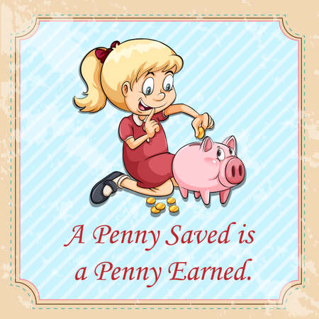 figurative: A penny saved is a penny earned illustration