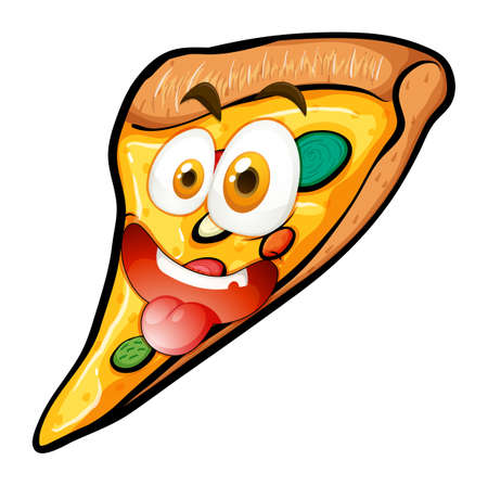 funny pictures: Pizza with face on white illustration Illustration