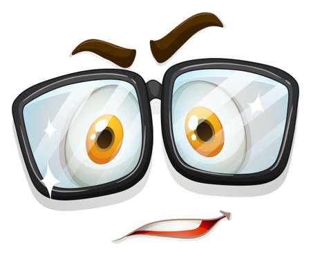 spectacles: Facial expression with glasses illustration