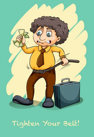 tighten: Tighten your belt idiom illustration Illustration