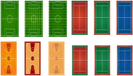 hard court: Sport fields and courts illustration