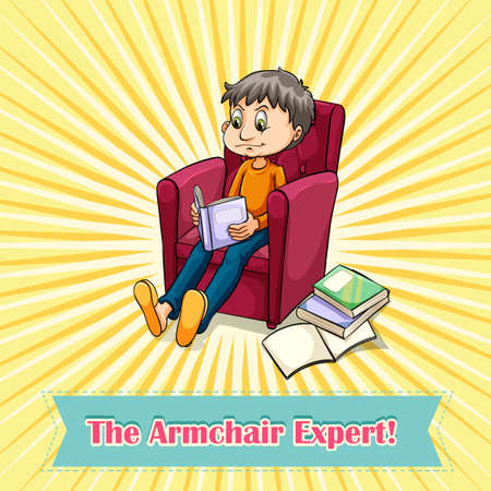 armchair: Man sitting on armchair illustration Illustration