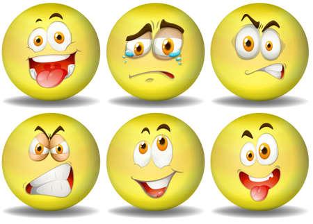 Żółta piłka wyrażenia emotikony ilustracja Ilustracje wektorowe