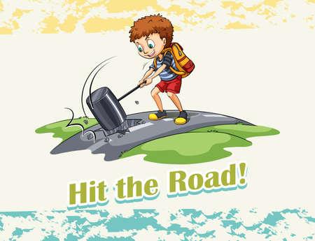 hit: Idiom hit the road illustration Illustration