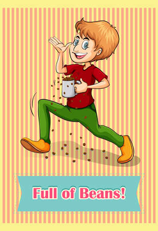 idiom: Idiom full of beans illustration