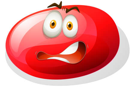 opened eye: Red facial expression slime illustration