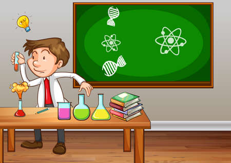 drawing room: Science teacher experimenting in classroom illustration Illustration