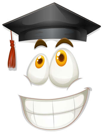 eyes close up: Happy face with graduation cap illustration