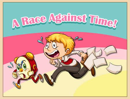 hysteria: Man racing with clock illustration Illustration