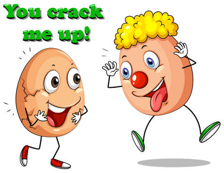 crack up: You crack me up eggs expressions illustration
