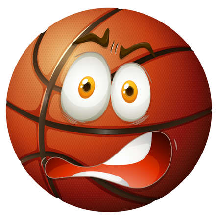 Basketball with shocking face illustration