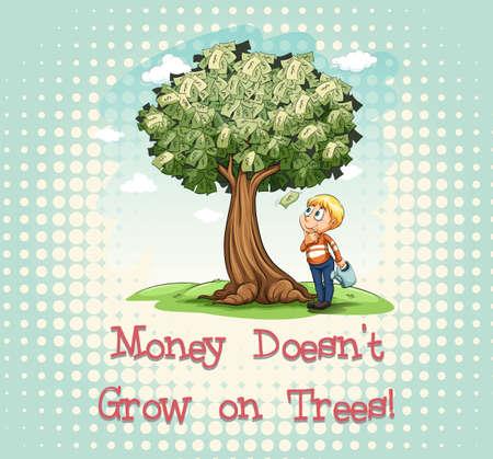 trees illustration: Money doesnt grow on trees illustration