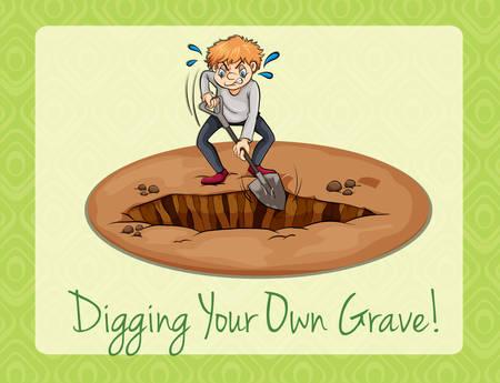 digging: Digging your own grave illustration