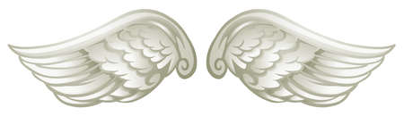 on white: Pair of white wings illustration
