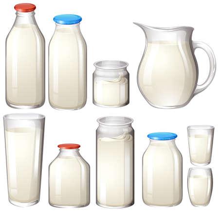 milk: Milk and drink botles on white illustration