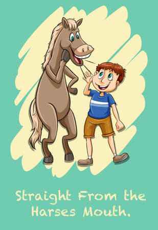 idiom: Idiom straight from the harses mouth illustration Illustration