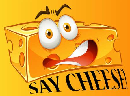 queso: Diga expresión queso amarillo ilustración