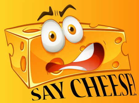 Say cheese expression on yellow illustration