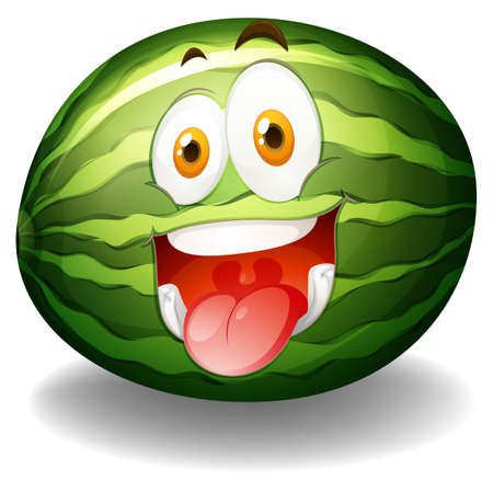 express feelings: Happy facial expression on watermelon illustration