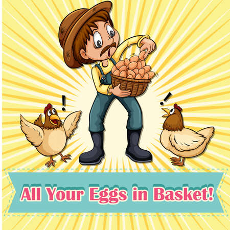 all in one: All your eggs in one basket idiom illustration Illustration