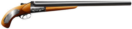 vintage military rifle: Shotgun rifle with wooden trigger illustration