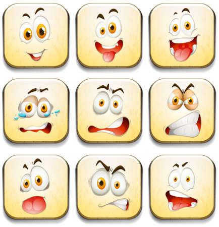 expresiones faciales: Las expresiones faciales en los azulejos de color amarillo ilustración Vectores