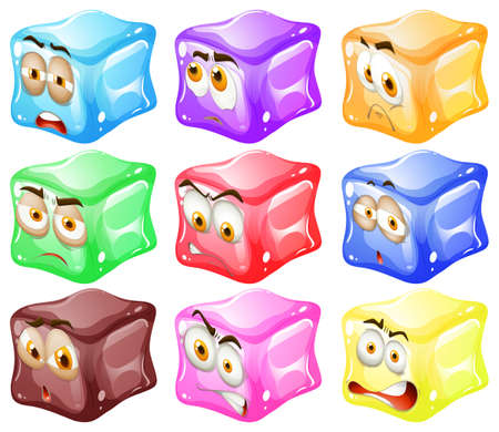shocking: Ice cubes with faces illustration Illustration