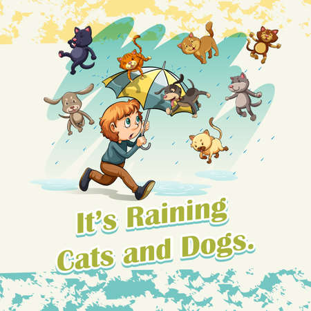 raining: Idiom raining cats and dogs illustration Illustration