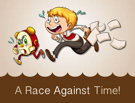 against the clock: Man racing against clock illustration