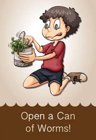 gusanos: Abrir una lata de gusanos ilustraci�n Vectores