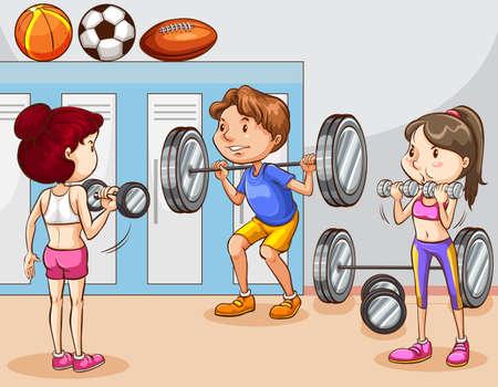 Las personas que trabajan en el gym ilustración
