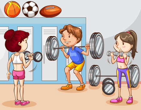 People working out in gym illustration Illustration