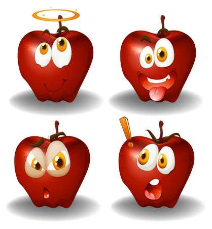 manzana caricatura: La expresión facial en manzanas ilustración