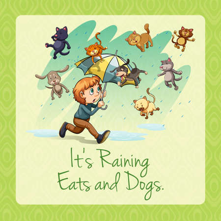 raining: Its raining cats and dogs idiom illustration