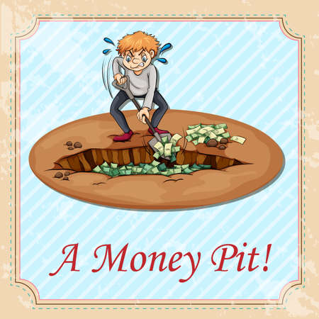 pit: Man digging money pit illustration Illustration
