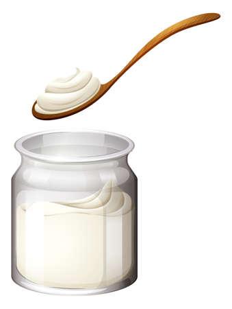 yoghurt: Yoghurt or cream on white illustration Illustration