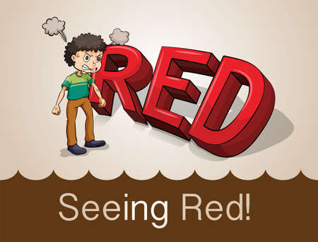 see: Seeing red idiom concept illustration