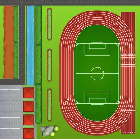 football field: Football field with tracks illustration Illustration