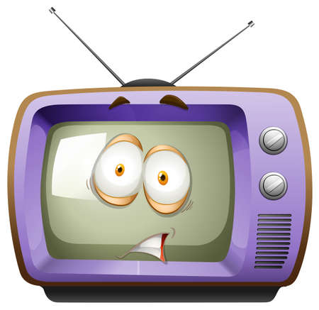 shocking face: Retro television with face illustration