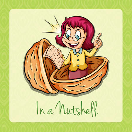 nutshell: In a nutshell idiom illustration