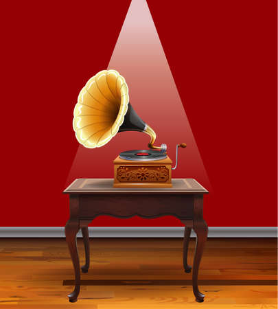 piece of furniture: Retro grammophone on table illustration