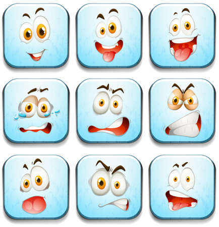 silly: Blue buttons with faces illustration