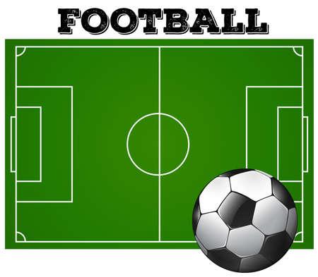 soccer field: Football soccer field with ball illustration