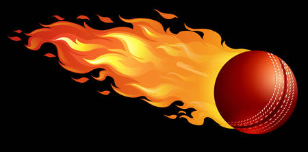 fire ball: Cricket ball on fire illustration