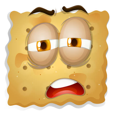 biscuit: Yellow square biscuit face illustration