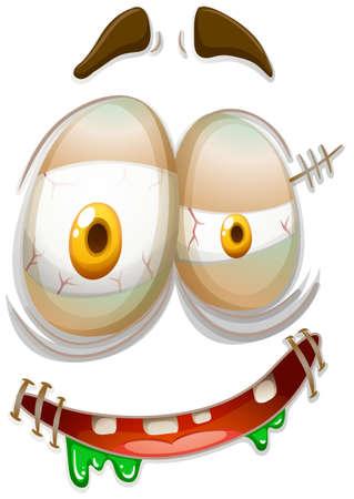express feelings: Zombie style facial emojicon illustration Illustration